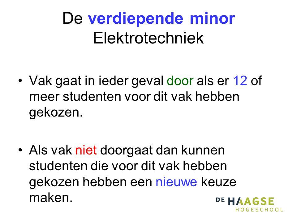 De verdiepende minor Elektrotechniek Vak gaat in ieder geval door als er 12 of meer studenten voor dit vak hebben gekozen. Als vak niet doorgaat dan k