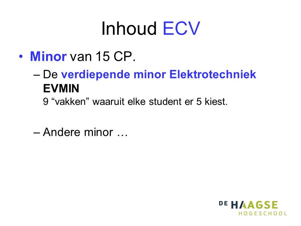 """Inhoud ECV Minor van 15 CP. –De verdiepende minor Elektrotechniek EVMIN 9 """"vakken"""" waaruit elke student er 5 kiest. –Andere minor …"""