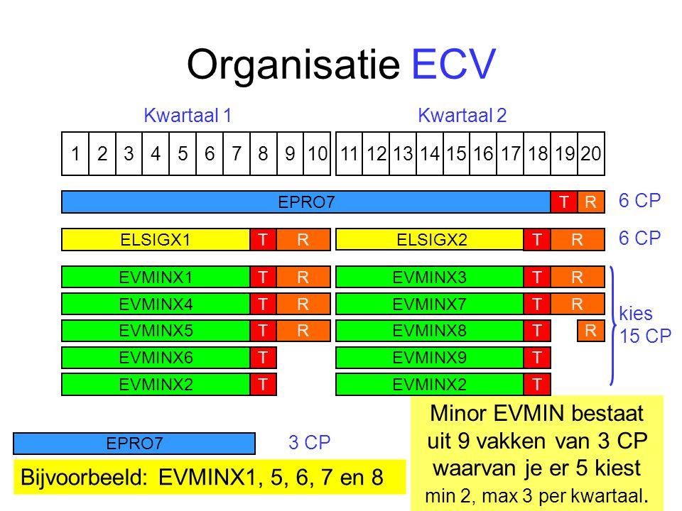Organisatie ECV 1324576891110121315141617191820 ELSIGX1 ELSIGX2 TTRR EPRO7TR Kwartaal 1Kwartaal 2 6 CP 3 CP 6 CP R EVMINX1T Minor EVMIN bestaat uit 9 vakken van 3 CP waarvan je er 5 kiest min 2, max 3 per kwartaal.