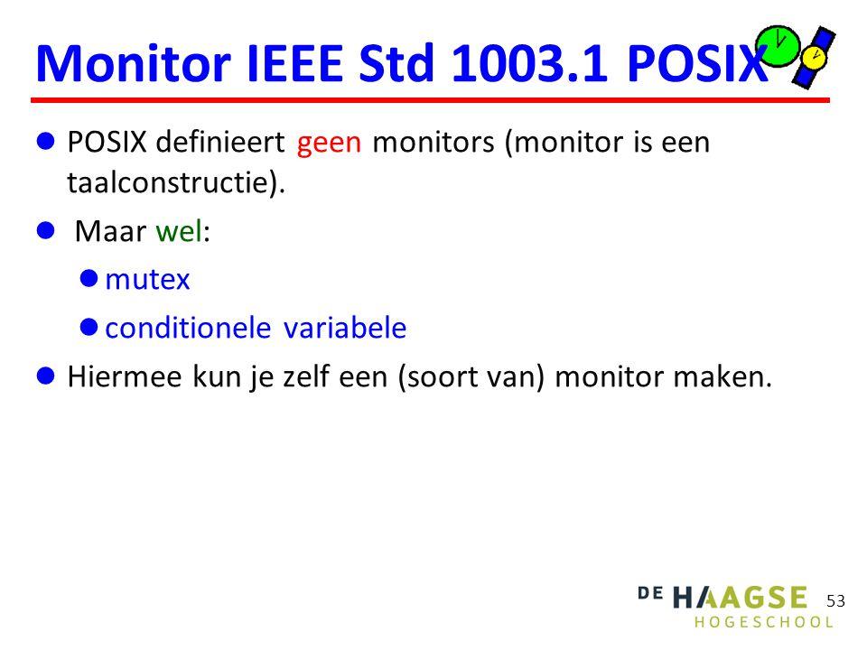 53 Monitor IEEE Std 1003.1 POSIX POSIX definieert geen monitors (monitor is een taalconstructie).