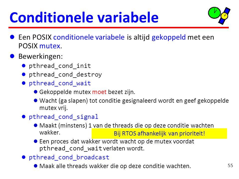 Een POSIX conditionele variabele is altijd gekoppeld met een POSIX mutex.