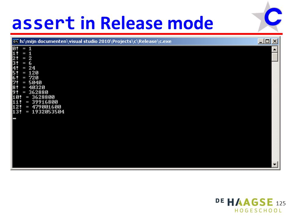 125 assert in Release mode