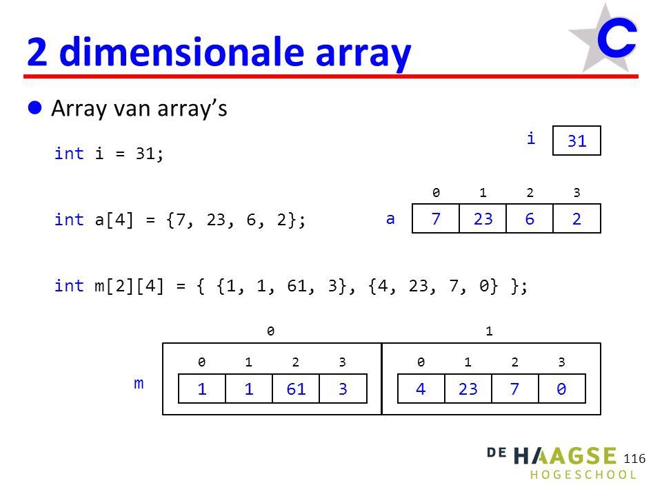 116 2 dimensionale array Array van array's int i = 31; int a[4] = {7, 23, 6, 2}; int m[2][4] = { {1, 1, 61, 3}, {4, 23, 7, 0} }; 31 i a 7 0 23 1 6 2 2