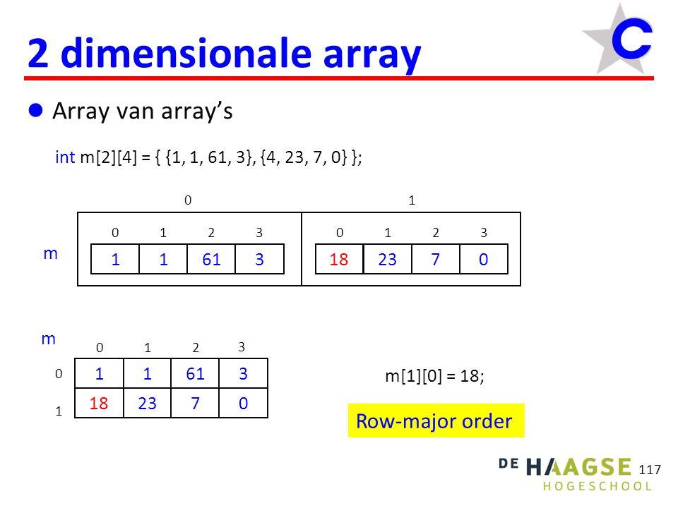 117 2 dimensionale array Array van array's int m[2][4] = { {1, 1, 61, 3}, {4, 23, 7, 0} }; 1 0 1 1 61 2 3 3 4 0 23 1 7 2 0 3 01 m 0 1 1 61 2 3 3 2370