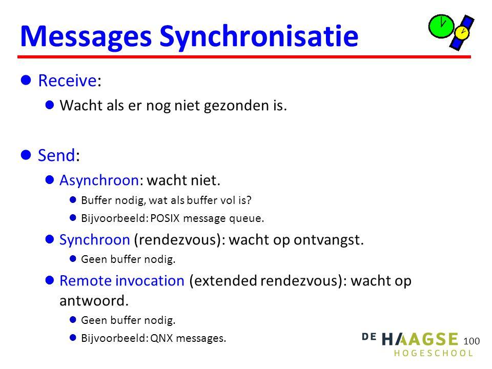 100 Messages Synchronisatie Receive: Wacht als er nog niet gezonden is.