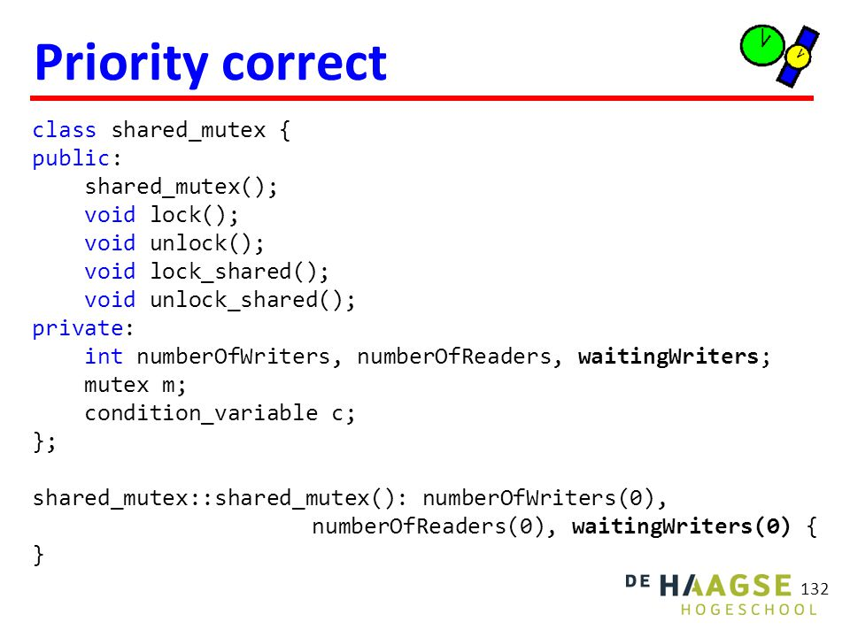 Priority correct 132 class shared_mutex { public: shared_mutex(); void lock(); void unlock(); void lock_shared(); void unlock_shared(); private: int numberOfWriters, numberOfReaders, waitingWriters; mutex m; condition_variable c; }; shared_mutex::shared_mutex(): numberOfWriters(0), numberOfReaders(0), waitingWriters(0) { }