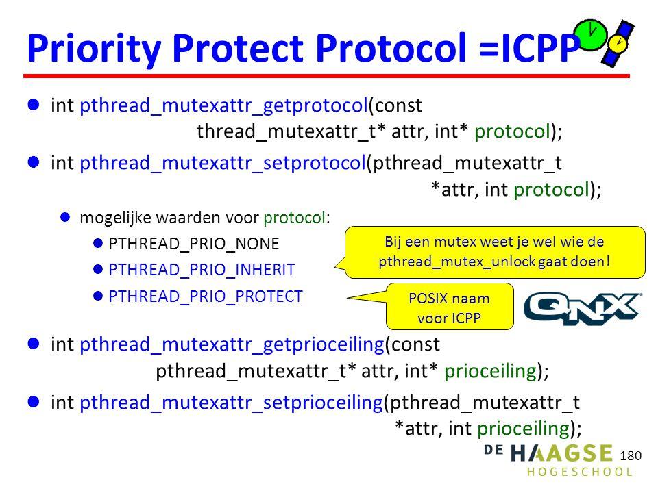 180 Priority Protect Protocol =ICPP int pthread_mutexattr_getprotocol(const thread_mutexattr_t* attr, int* protocol); int pthread_mutexattr_setprotoco