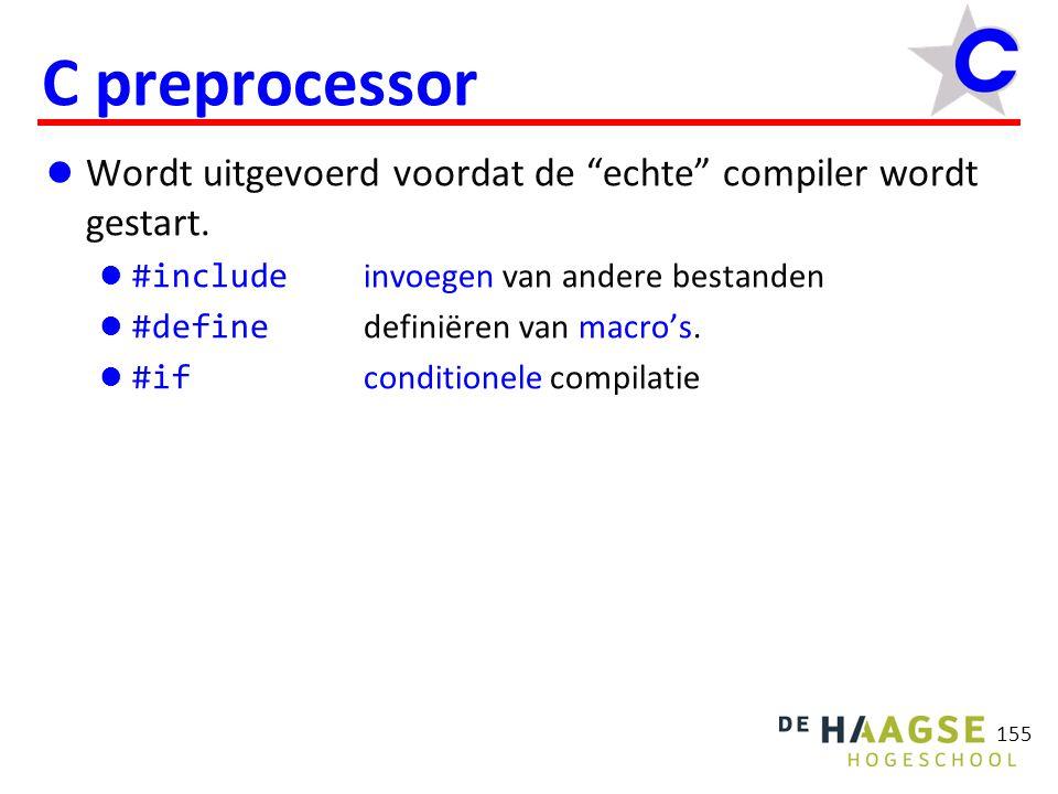155 C preprocessor Wordt uitgevoerd voordat de echte compiler wordt gestart.