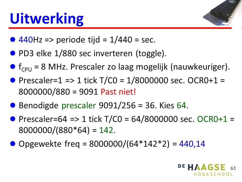 61 Uitwerking 440Hz => periode tijd = 1/440 = sec. PD3 elke 1/880 sec inverteren (toggle). f CPU = 8 MHz. Prescaler zo laag mogelijk (nauwkeuriger). P