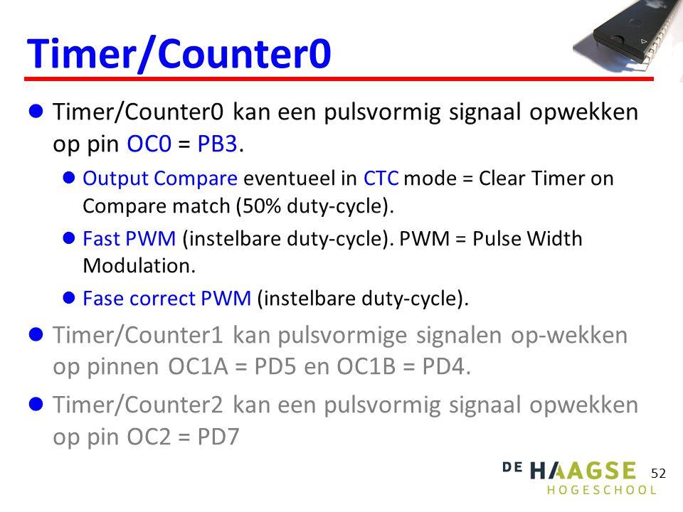 53 0x08 0x060x07 =1 10 =0 Output compare count-ingang 07 TCNT0 OCF0 OCIE0 TIMER0_COMP_vect interrupt comparator = Output control OCR00x07 OC0 PB3 COM0/1 FOC0 07