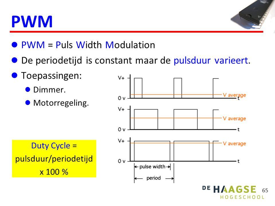 65 PWM PWM = Puls Width Modulation De periodetijd is constant maar de pulsduur varieert. Toepassingen: Dimmer. Motorregeling. Duty Cycle = pulsduur/pe