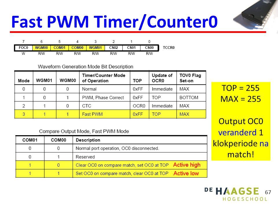 67 Fast PWM Timer/Counter0 TOP = 255 MAX = 255 Output OC0 veranderd 1 klokperiode na match!