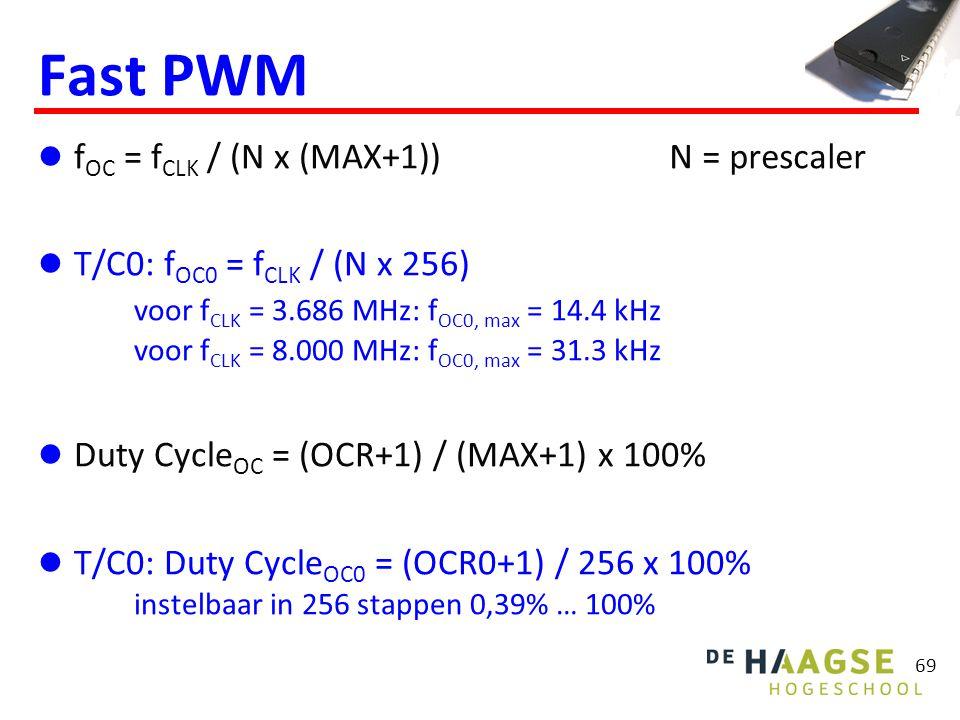 69 Fast PWM f OC = f CLK / (N x (MAX+1)) T/C0: f OC0 = f CLK / (N x 256) voor f CLK = 3.686 MHz: f OC0, max = 14.4 kHz voor f CLK = 8.000 MHz: f OC0,