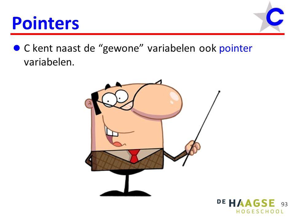 93 Pointers C kent naast de gewone variabelen ook pointer variabelen.