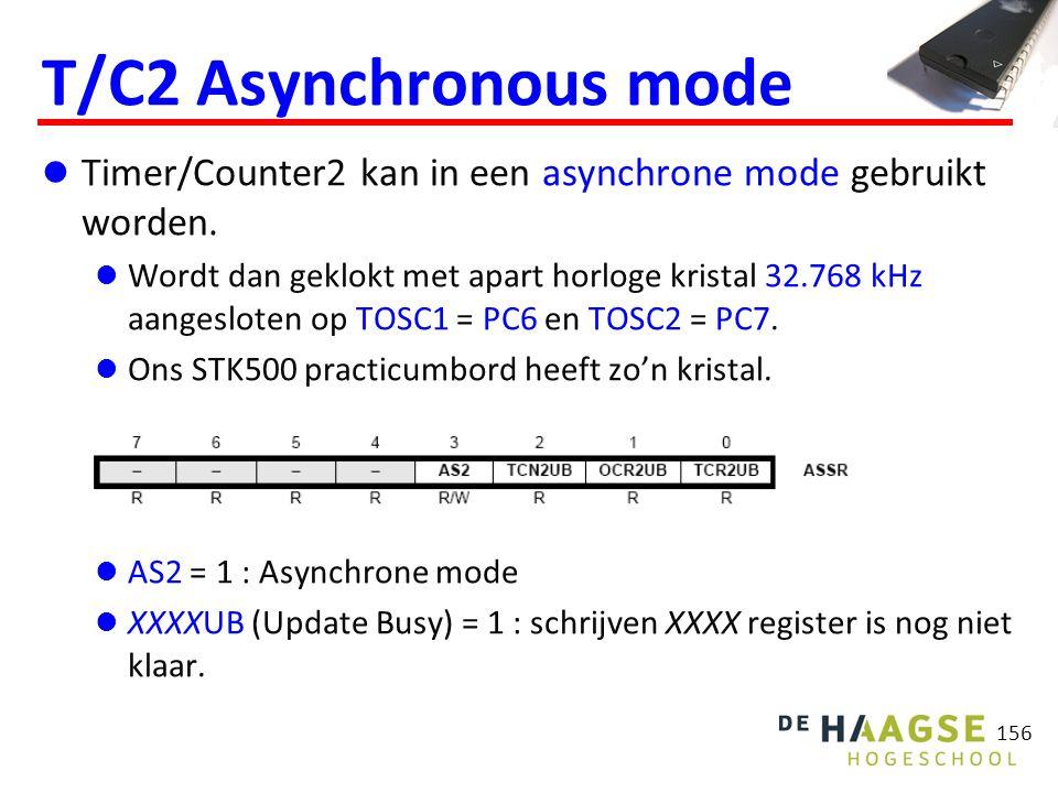 156 T/C2 Asynchronous mode Timer/Counter2 kan in een asynchrone mode gebruikt worden.