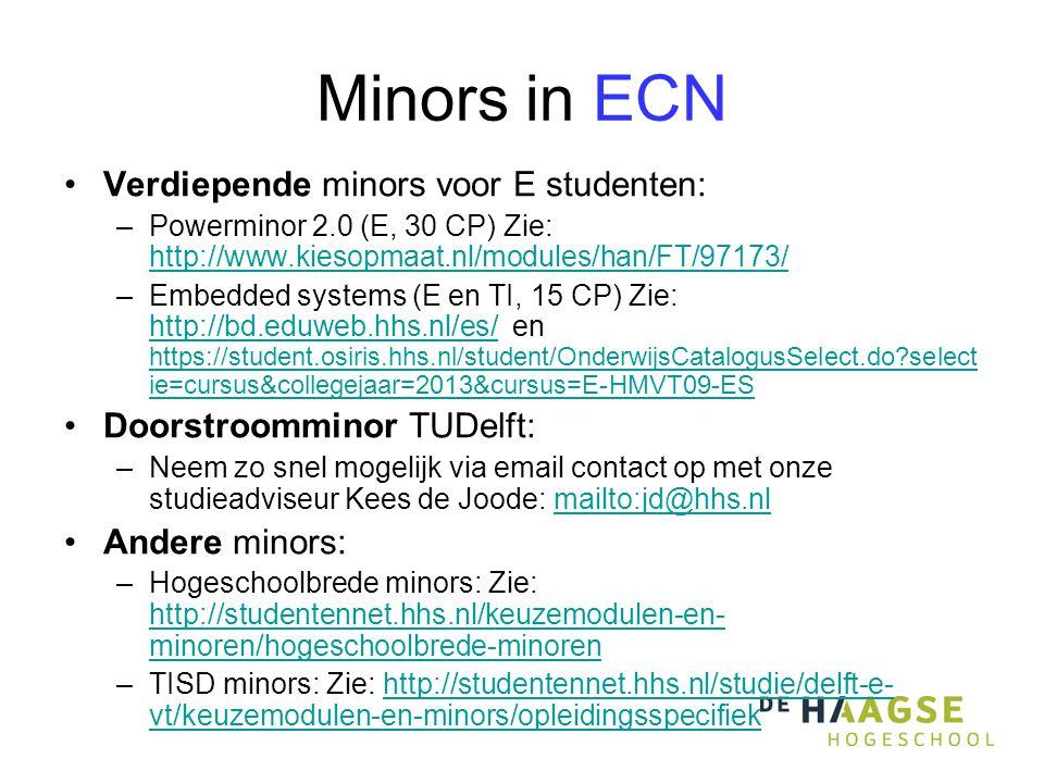 Minors in ECN Verdiepende minors voor E studenten: –Powerminor 2.0 (E, 30 CP) Zie: http://www.kiesopmaat.nl/modules/han/FT/97173/ http://www.kiesopmaat.nl/modules/han/FT/97173/ –Embedded systems (E en TI, 15 CP) Zie: http://bd.eduweb.hhs.nl/es/ en https://student.osiris.hhs.nl/student/OnderwijsCatalogusSelect.do select ie=cursus&collegejaar=2013&cursus=E-HMVT09-ES http://bd.eduweb.hhs.nl/es/ https://student.osiris.hhs.nl/student/OnderwijsCatalogusSelect.do select ie=cursus&collegejaar=2013&cursus=E-HMVT09-ES Doorstroomminor TUDelft: –Neem zo snel mogelijk via email contact op met onze studieadviseur Kees de Joode: mailto:jd@hhs.nlmailto:jd@hhs.nl Andere minors: –Hogeschoolbrede minors: Zie: http://studentennet.hhs.nl/keuzemodulen-en- minoren/hogeschoolbrede-minoren http://studentennet.hhs.nl/keuzemodulen-en- minoren/hogeschoolbrede-minoren –TISD minors: Zie: http://studentennet.hhs.nl/studie/delft-e- vt/keuzemodulen-en-minors/opleidingsspecifiekhttp://studentennet.hhs.nl/studie/delft-e- vt/keuzemodulen-en-minors/opleidingsspecifiek