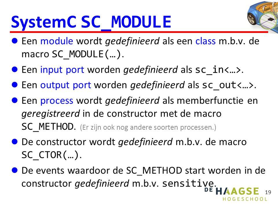 SystemC SC_MODULE Een module wordt gedefinieerd als een class m.b.v.