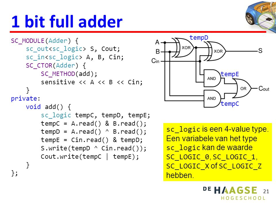 1 bit full adder SC_MODULE(Adder) { sc_out S, Cout; sc_in A, B, Cin; SC_CTOR(Adder) { SC_METHOD(add); sensitive << A << B << Cin; } private: void add() { sc_logic tempC, tempD, tempE; tempC = A.read() & B.read(); tempD = A.read() ^ B.read(); tempE = Cin.read() & tempD; S.write(tempD ^ Cin.read()); Cout.write(tempC | tempE); } }; 21 sc_logic is een 4-value type.
