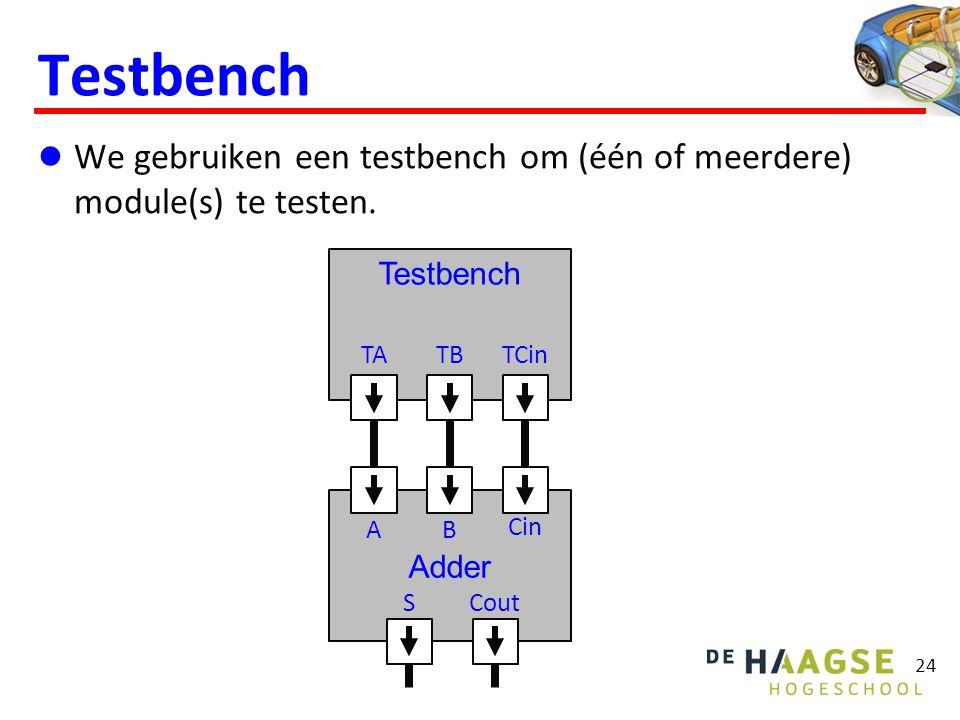 Testbench We gebruiken een testbench om (één of meerdere) module(s) te testen.