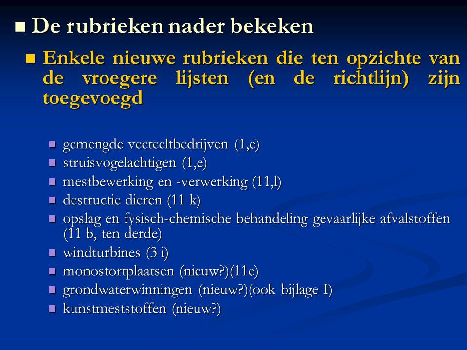 Enkele nieuwe rubrieken die ten opzichte van de vroegere lijsten (en de richtlijn) zijn toegevoegd Enkele nieuwe rubrieken die ten opzichte van de vroegere lijsten (en de richtlijn) zijn toegevoegd gemengde veeteeltbedrijven (1,e) gemengde veeteeltbedrijven (1,e) struisvogelachtigen (1,e) struisvogelachtigen (1,e) mestbewerking en -verwerking (11,l) mestbewerking en -verwerking (11,l) destructie dieren (11 k) destructie dieren (11 k) opslag en fysisch-chemische behandeling gevaarlijke afvalstoffen (11 b, ten derde) opslag en fysisch-chemische behandeling gevaarlijke afvalstoffen (11 b, ten derde) windturbines (3 i) windturbines (3 i) monostortplaatsen (nieuw )(11e) monostortplaatsen (nieuw )(11e) grondwaterwinningen (nieuw )(ook bijlage I) grondwaterwinningen (nieuw )(ook bijlage I) kunstmeststoffen (nieuw ) kunstmeststoffen (nieuw ) De rubrieken nader bekeken De rubrieken nader bekeken