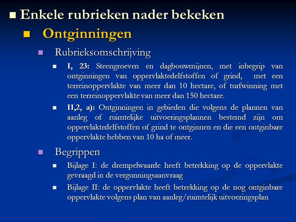 Ontginningen Ontginningen Rubrieksomschrijving Rubrieksomschrijving I, 23: Steengroeven en dagbouwmijnen, met inbegrip van ontginningen van oppervlaktedelfstoffen of grind, met een terreinoppervlakte van meer dan 10 hectare, of turfwinning met een terreinoppervlakte van meer dan 150 hectare.