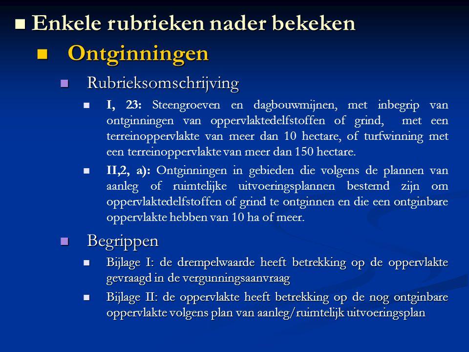Ontginningen Ontginningen Rubrieksomschrijving Rubrieksomschrijving I, 23: Steengroeven en dagbouwmijnen, met inbegrip van ontginningen van oppervlakt