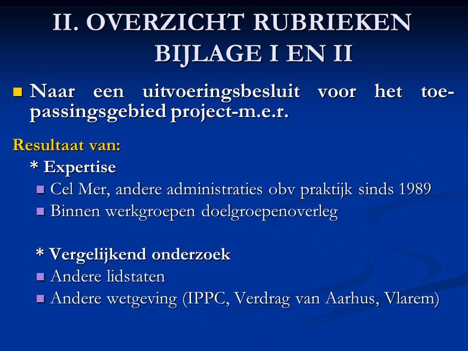 II. OVERZICHT RUBRIEKEN BIJLAGE I EN II Naar een uitvoeringsbesluit voor het toe- passingsgebied project-m.e.r. Naar een uitvoeringsbesluit voor het t