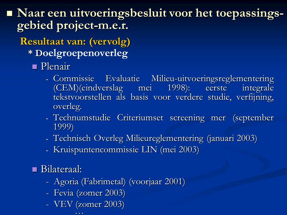 * D * D oelgroepenoverleg Plenair Plenair - Commissie Evaluatie Milieu-uitvoeringsreglementering (CEM)(eindverslag mei 1998): eerste integrale tekstvo