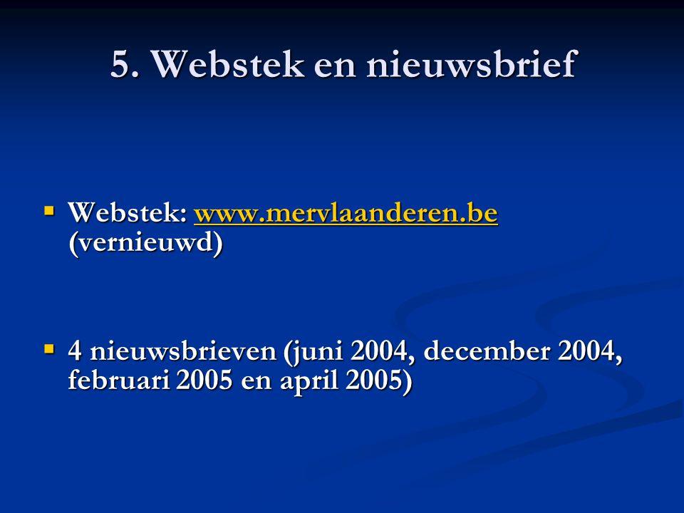 5. Webstek en nieuwsbrief  Webstek: www.mervlaanderen.be (vernieuwd) www.mervlaanderen.be  4 nieuwsbrieven (juni 2004, december 2004, februari 2005