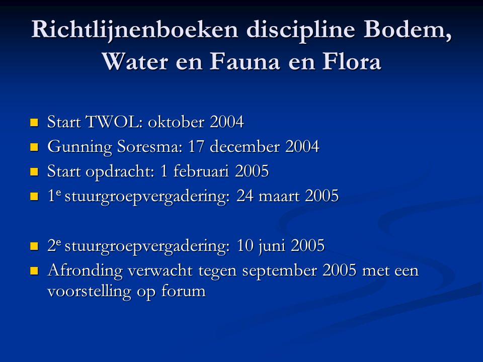 Richtlijnenboeken discipline Bodem, Water en Fauna en Flora Start TWOL: oktober 2004 Start TWOL: oktober 2004 Gunning Soresma: 17 december 2004 Gunnin