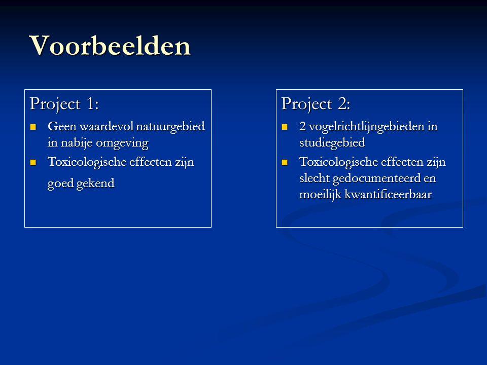 Voorbeelden Project 2: 2 vogelrichtlijngebieden in studiegebied 2 vogelrichtlijngebieden in studiegebied Toxicologische effecten zijn slecht gedocumenteerd en moeilijk kwantificeerbaar Toxicologische effecten zijn slecht gedocumenteerd en moeilijk kwantificeerbaar Project 1: Geen waardevol natuurgebied in nabije omgeving Geen waardevol natuurgebied in nabije omgeving Toxicologische effecten zijn goed gekend Toxicologische effecten zijn goed gekend