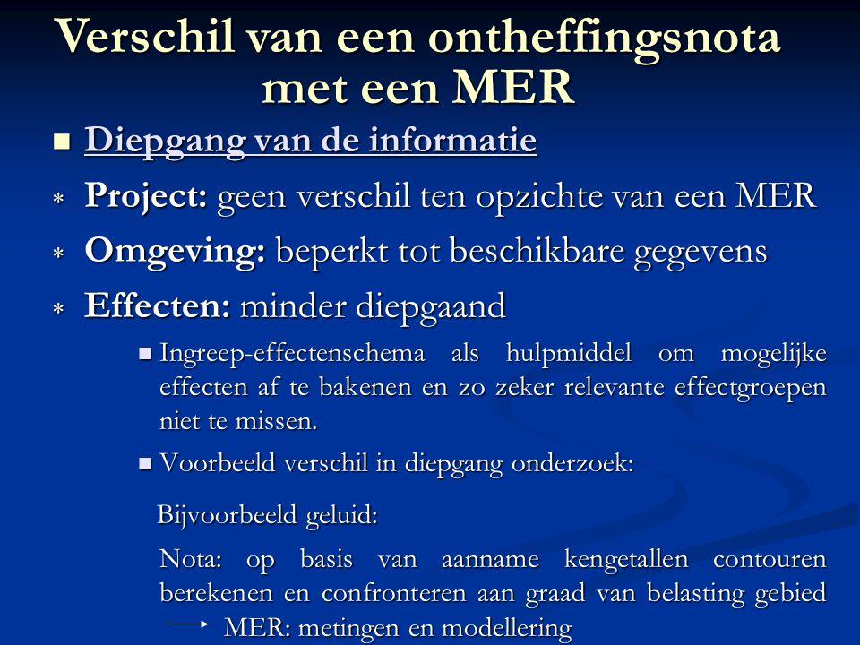 Diepgang van de informatie Diepgang van de informatie  Project: geen verschil ten opzichte van een MER  Omgeving: beperkt tot beschikbare gegevens 
