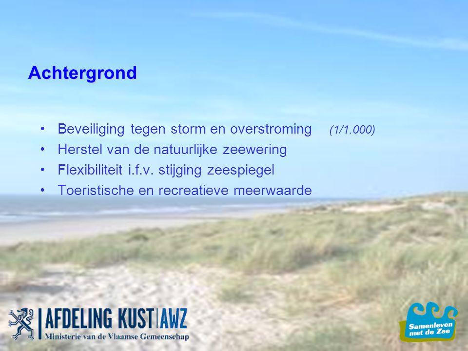 Achtergrond Beveiliging tegen storm en overstroming (1/1.000) Herstel van de natuurlijke zeewering Flexibiliteit i.f.v. stijging zeespiegel Toeristisc