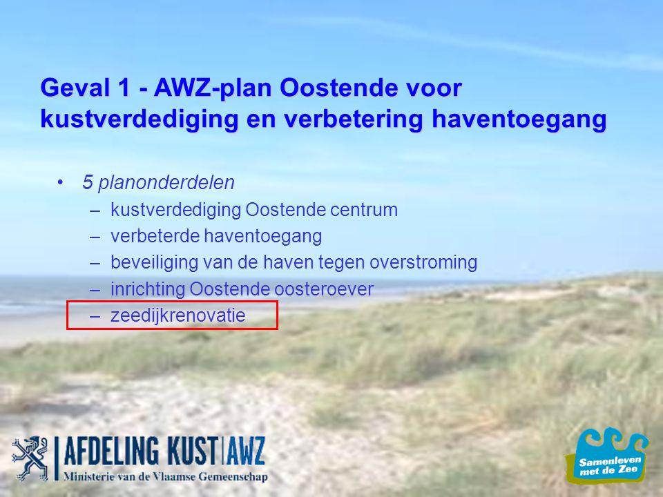 Geval 1 - AWZ-plan Oostende voor kustverdediging en verbetering haventoegang 5 planonderdelen –kustverdediging Oostende centrum –verbeterde haventoega