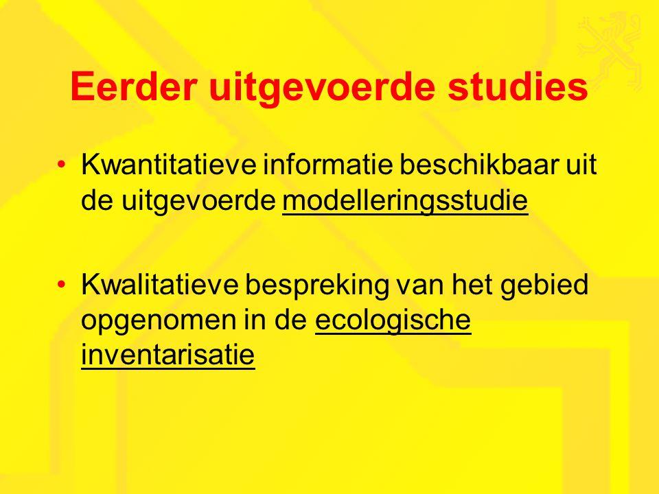 Eerder uitgevoerde studies Kwantitatieve informatie beschikbaar uit de uitgevoerde modelleringsstudie Kwalitatieve bespreking van het gebied opgenomen in de ecologische inventarisatie