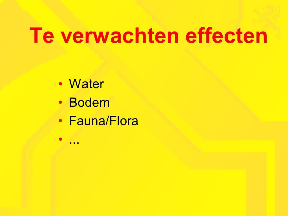 Te verwachten effecten Water Bodem Fauna/Flora...
