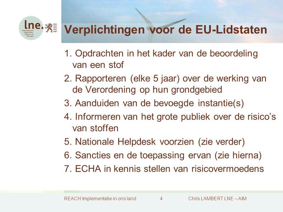 REACH Implementatie in ons land5Chris LAMBERT LNE – AIM REACH: handhaving in de EU-Lidstaten 1.REACH vereist dat de Lidstaten moeten voorzien in sancties en controles 2.Tegen 1 december 2008 moeten er sancties zijn bepaald 3.Federaal : nood tot wijziging van de Wet productnormen 4.Vlaams : wordt aangesloten bij het handhavingsdecreet 5.Bij het ECHA is er voorzien in een Forum inzake inspecties waarvan ons land deel uitmaakt 6.Op Belgisch vlak is er voorzien in een Nationaal Forum (binnen België taken gelijkaardig aan het ECHA-Forum)  Goede praktijken inzake handhaving vaststellen  Handhavingstrategieën bepalen  Komen tot geharmoniseerde handhavingprojecten
