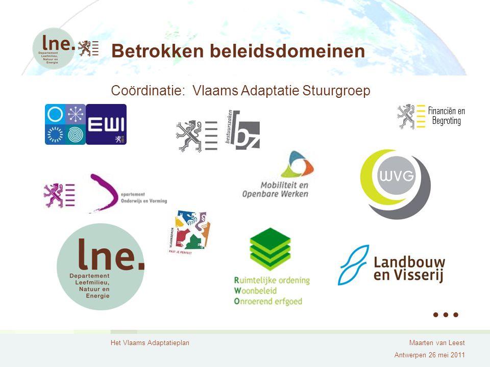 Het Vlaams AdaptatieplanMaarten van Leest Antwerpen 26 mei 2011 Betrokken beleidsdomeinen Coördinatie: Vlaams Adaptatie Stuurgroep …