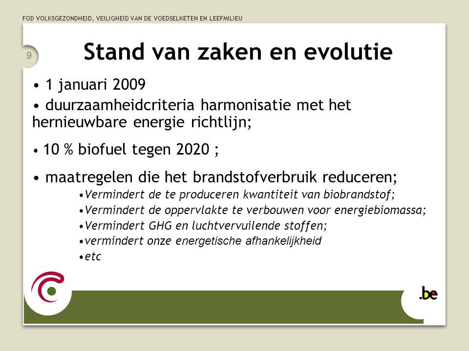 FOD VOLKSGEZONDHEID, VEILIGHEID VAN DE VOEDSELKETEN EN LEEFMILIEU 9 Stand van zaken en evolutie 1 januari 2009 duurzaamheidcriteria harmonisatie met het hernieuwbare energie richtlijn; 10 % biofuel tegen 2020 ; maatregelen die het brandstofverbruik reduceren; Vermindert de te produceren kwantiteit van biobrandstof; Vermindert de oppervlakte te verbouwen voor energiebiomassa; Vermindert GHG en luchtvervuilende stoffen; vermindert onze e nergetische afhankelijkheid etc
