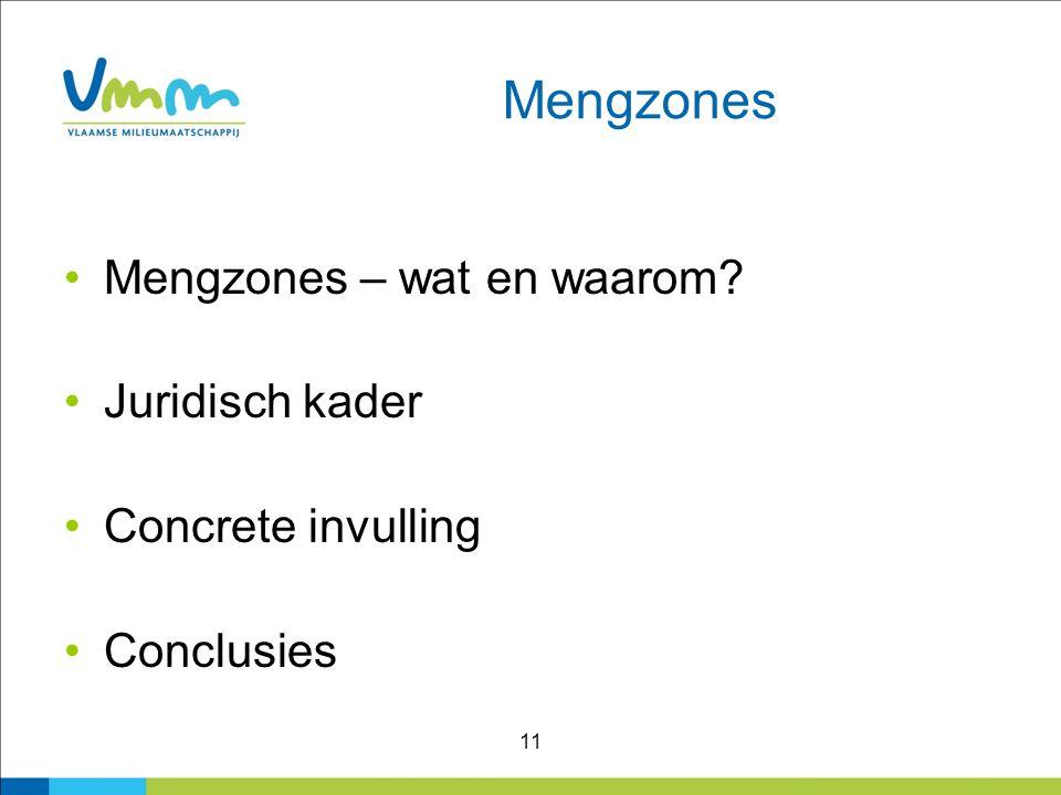 11 Mengzones Mengzones – wat en waarom? Juridisch kader Concrete invulling Conclusies