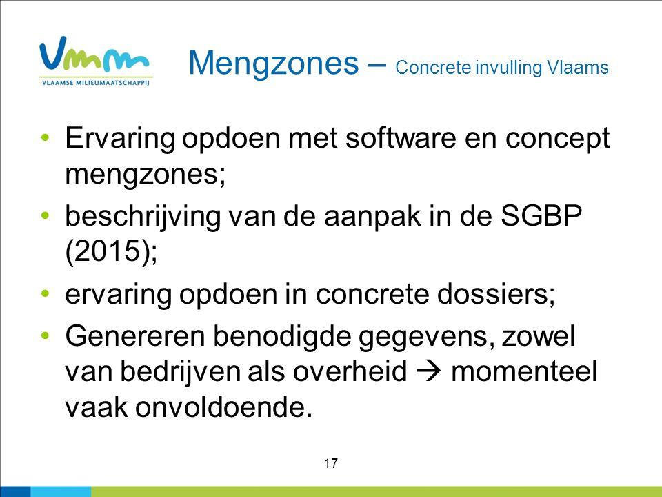 17 Mengzones – Concrete invulling Vlaams Ervaring opdoen met software en concept mengzones; beschrijving van de aanpak in de SGBP (2015); ervaring opd