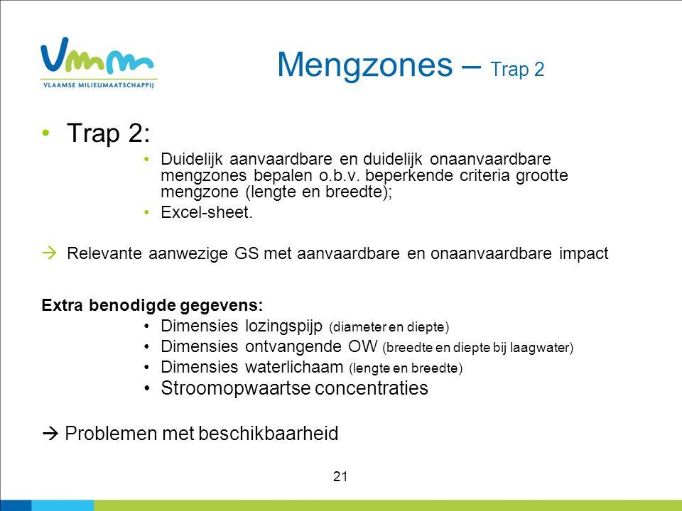 21 Mengzones – Trap 2 Trap 2: Duidelijk aanvaardbare en duidelijk onaanvaardbare mengzones bepalen o.b.v. beperkende criteria grootte mengzone (lengte