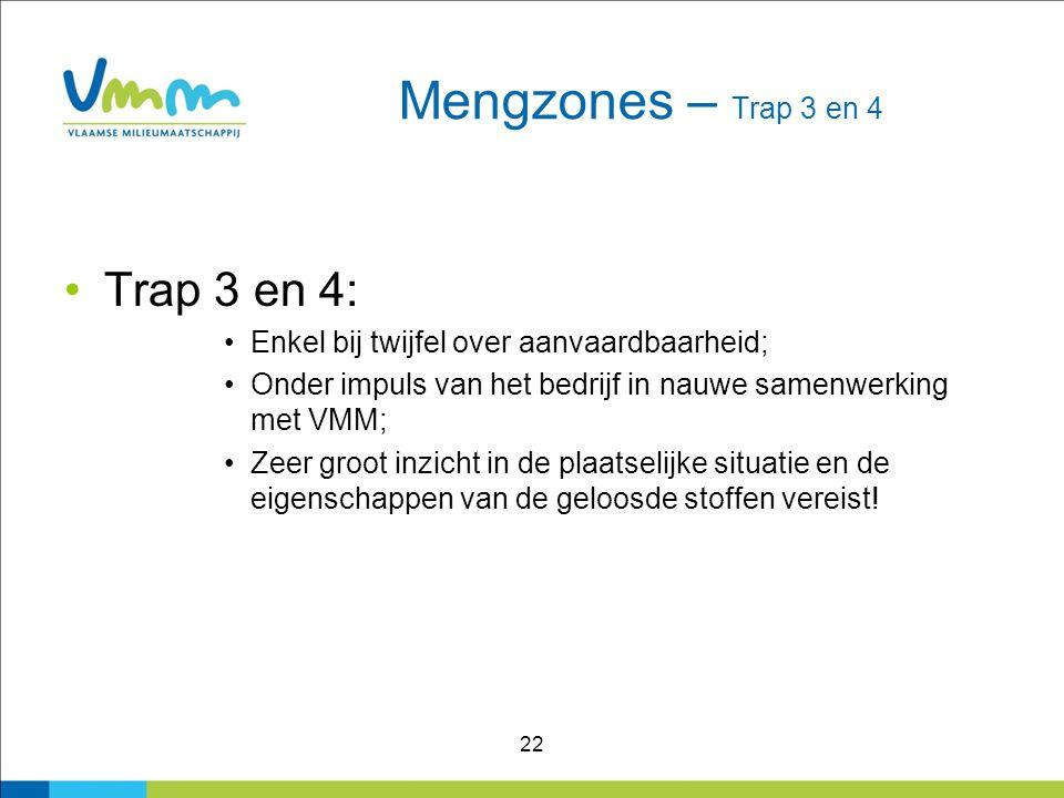 22 Mengzones – Trap 3 en 4 Trap 3 en 4: Enkel bij twijfel over aanvaardbaarheid; Onder impuls van het bedrijf in nauwe samenwerking met VMM; Zeer groo