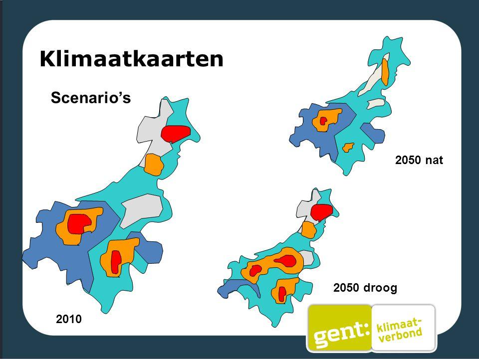 Klimaatkaarten Scenario's 2010 2050 droog 2050 nat
