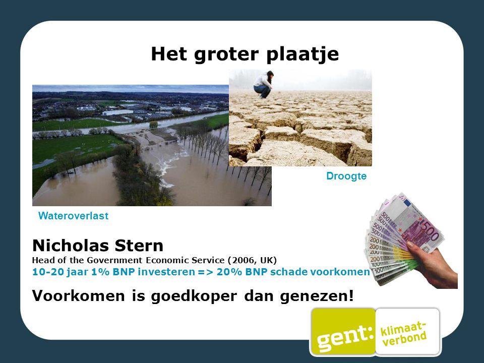 Het groter plaatje Wateroverlast Droogte Nicholas Stern Head of the Government Economic Service (2006, UK) 10-20 jaar 1% BNP investeren => 20% BNP sch