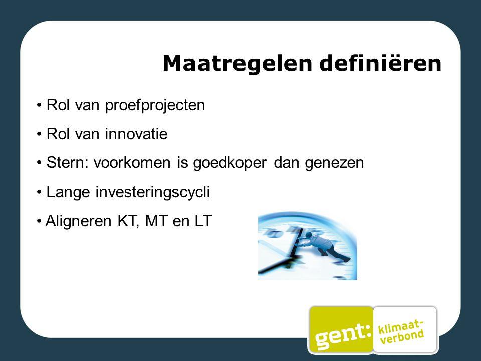 Maatregelen definiëren Rol van proefprojecten Rol van innovatie Stern: voorkomen is goedkoper dan genezen Lange investeringscycli Aligneren KT, MT en