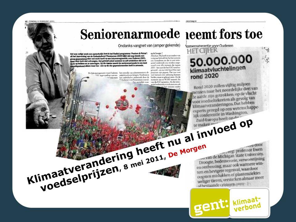 Klimaatverandering heeft nu al invloed op voedselprijzen, 8 mei 2011, De Morgen