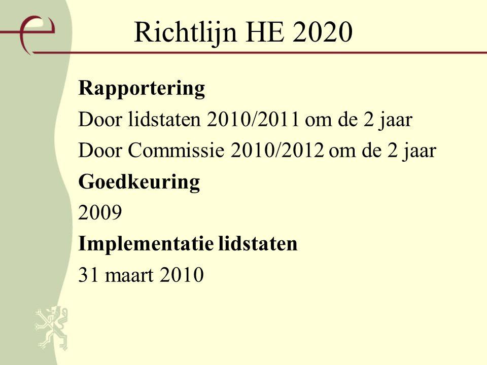 Richtlijn HE 2020 Rapportering Door lidstaten 2010/2011 om de 2 jaar Door Commissie 2010/2012 om de 2 jaar Goedkeuring 2009 Implementatie lidstaten 31 maart 2010