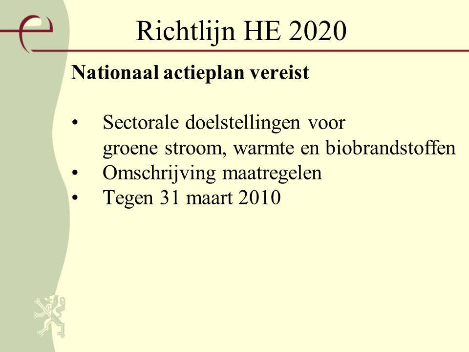 Richtlijn HE 2020 Nationaal actieplan vereist Sectorale doelstellingen voor groene stroom, warmte en biobrandstoffen Omschrijving maatregelen Tegen 31 maart 2010