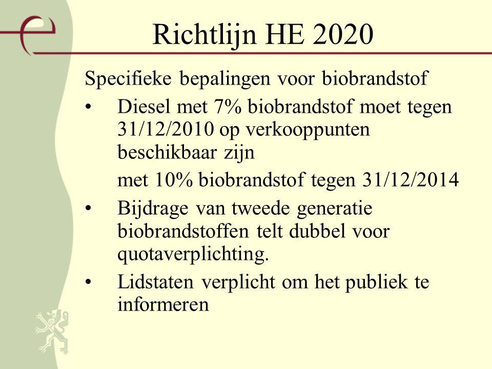 Richtlijn HE 2020 Specifieke bepalingen voor biobrandstof Diesel met 7% biobrandstof moet tegen 31/12/2010 op verkooppunten beschikbaar zijn met 10% biobrandstof tegen 31/12/2014 Bijdrage van tweede generatie biobrandstoffen telt dubbel voor quotaverplichting.